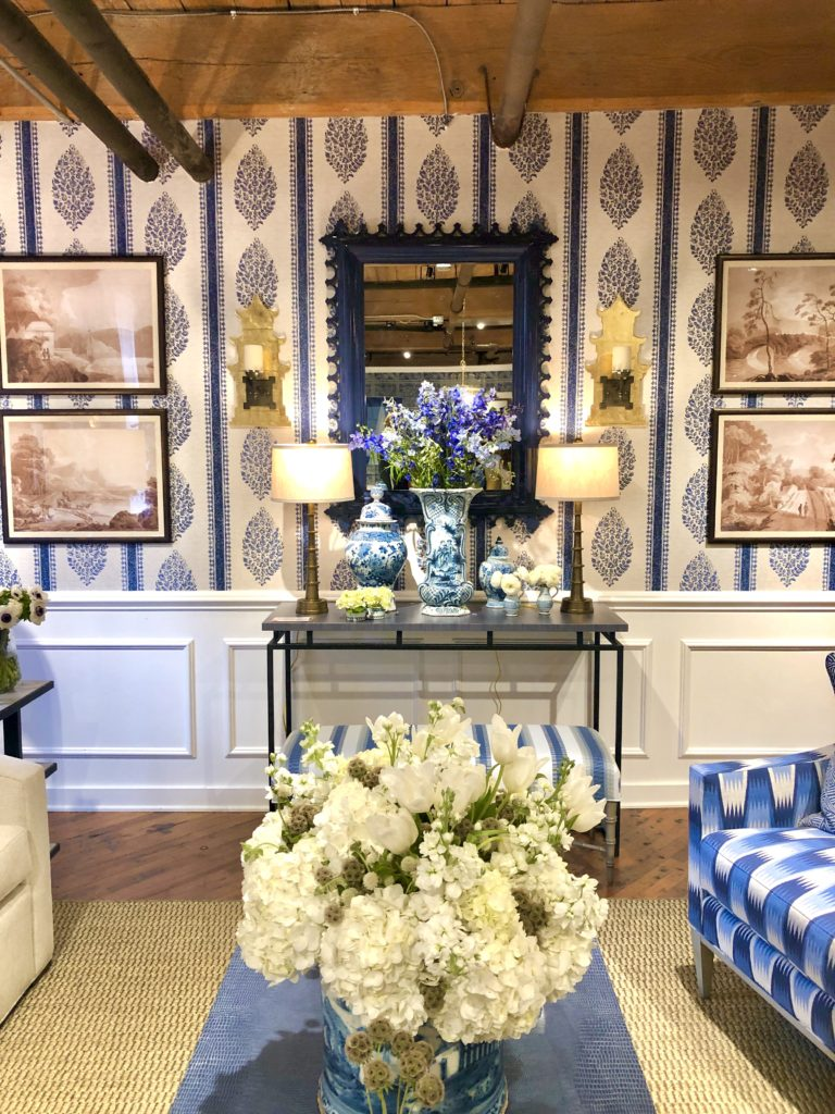 Blue and White Interiors, mixing patterns and textures featured at High Point Market.