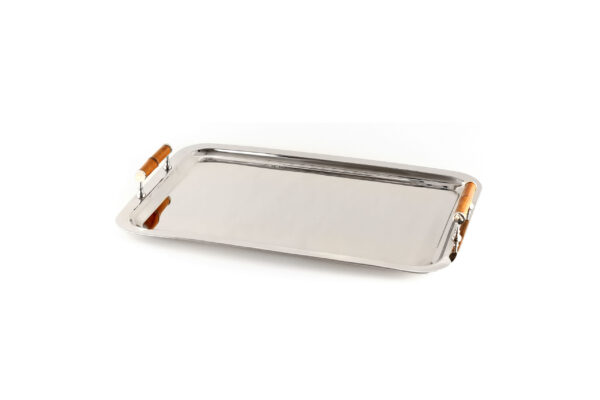 Tracy Dunn Design - Nickel Tray with Bamboo Handles