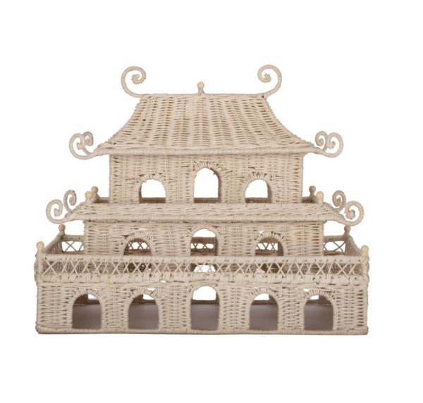 Rectangular Woven Wicker Pagoda