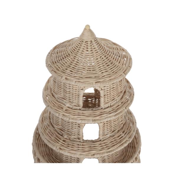 Short Round Woven Wicker Pagoda