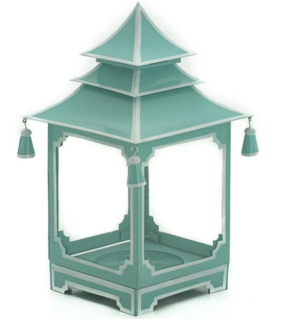 Tracy Dunn Design - Small Candle Pagoda Parisian Blue with White copy