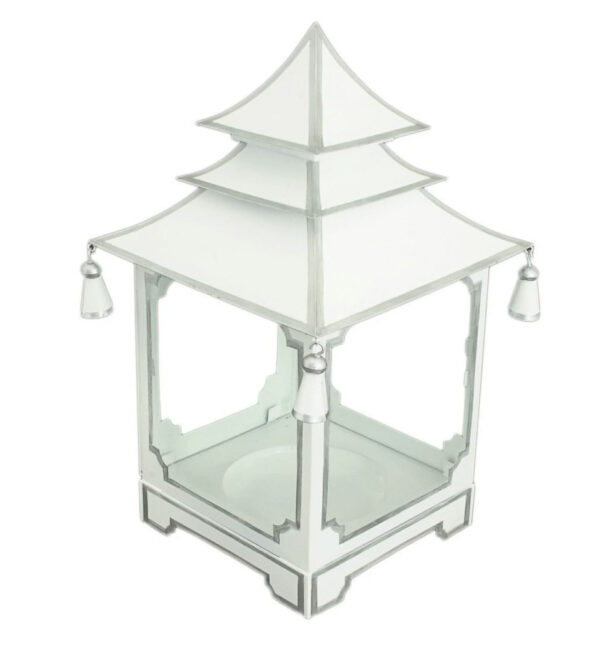 Tracy Dunn Design - Small Candle Pagoda Parisian White with Silver