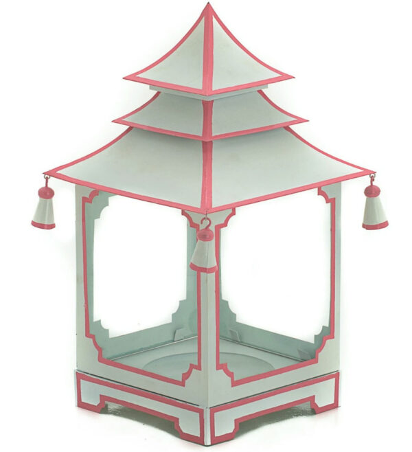 Tracy Dunn Design - Small Candle Pagoda White with pink