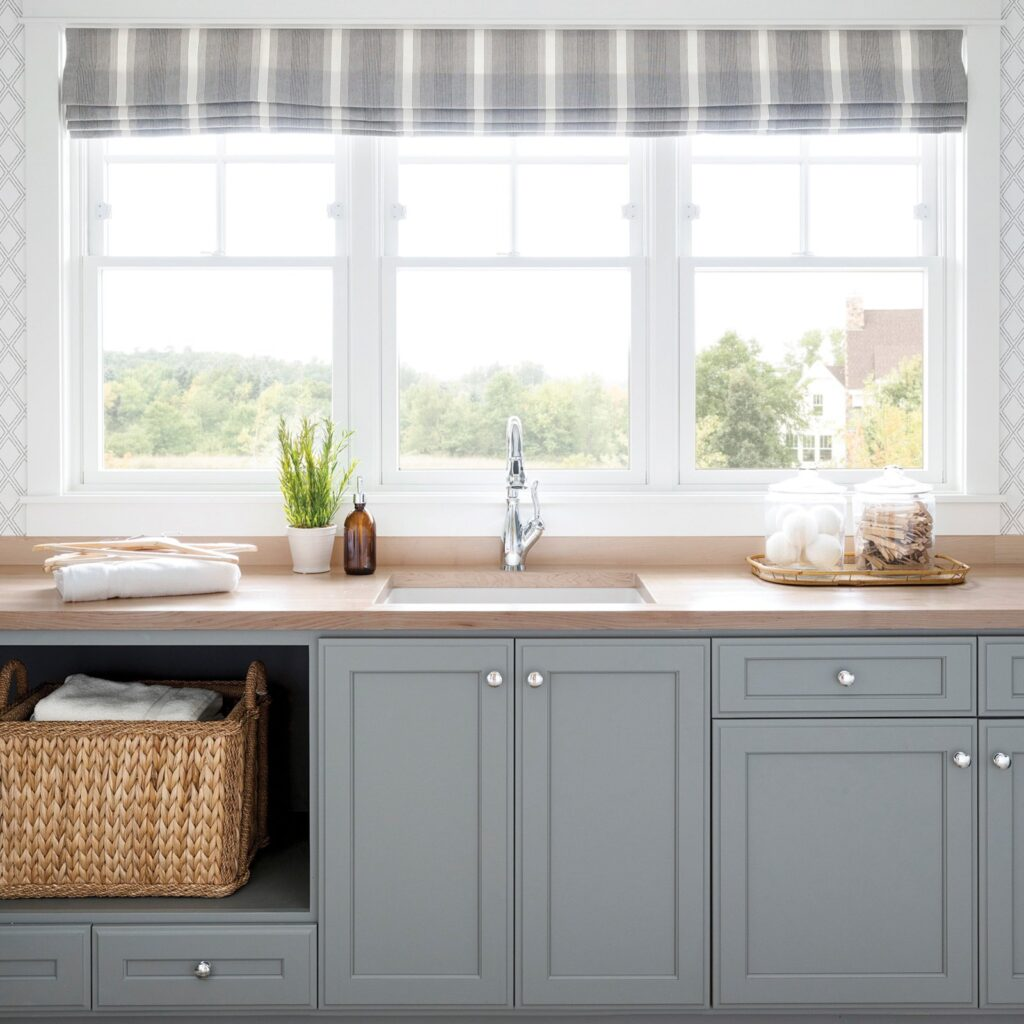 Tracy Dunn Design - Gray Kitchen with weaved basket