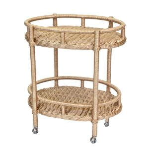 Tracy Dunn Design - Lyford Oval Wicker Bar Cart