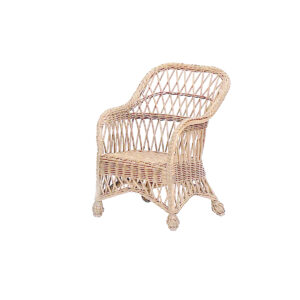 Child's Coastal Wicker Lounge Chair-Antique-White