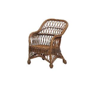 Child's Coastal Wicker Lounge Chair-Chestnut