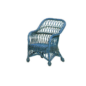 Child's Coastal Wicker Lounge Chair-Nantucket Blue