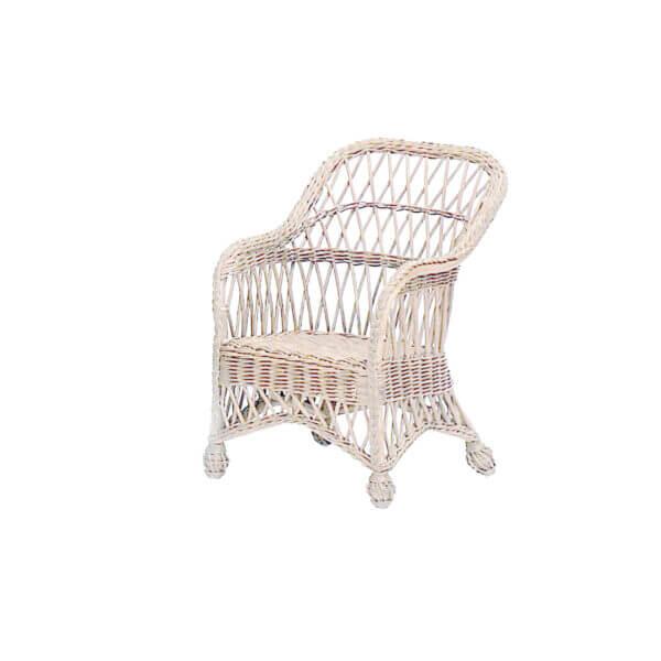 Child's Coastal Wicker Lounge Chair-White