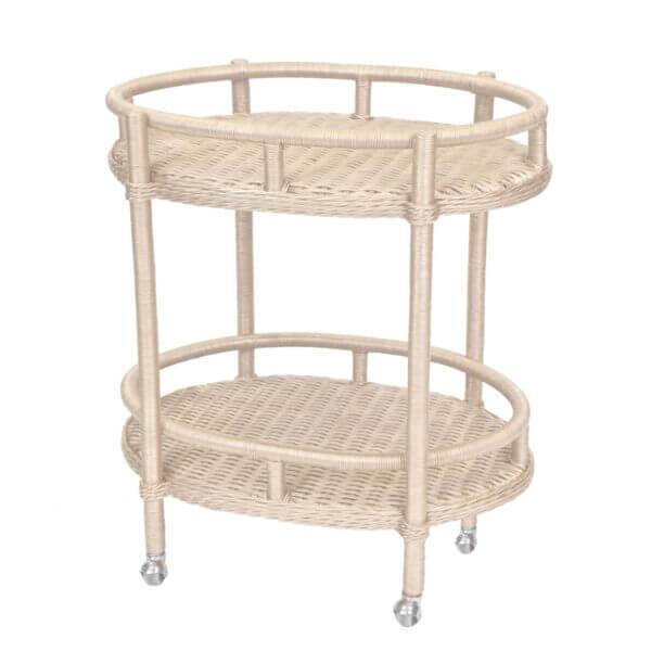 Lyford Oval Wicker Bar Cart-Antique White