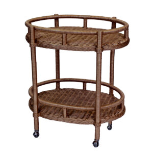 Lyford Oval Wicker Bar Cart-Dark-Wallnut