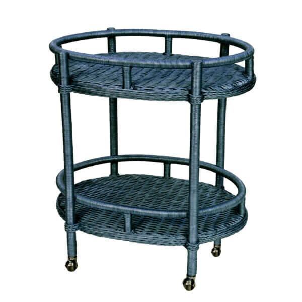 Lyford Oval Wicker Bar Cart-Nantucket-Blue