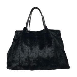 Sadie-black-mink-faux-fur-Handbag