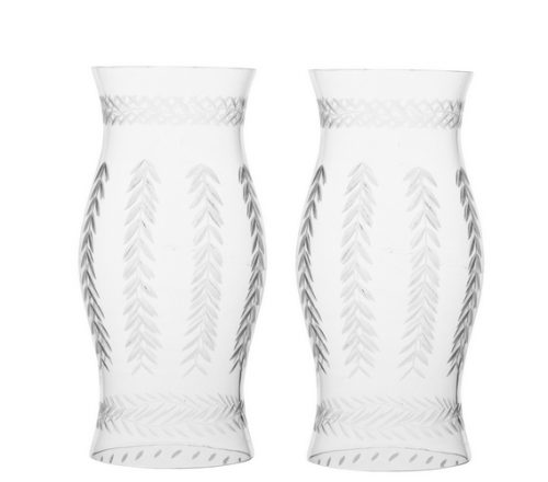 Pair of Small Etched Glass Hurricanes