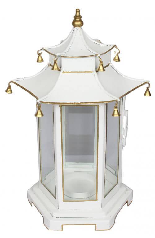 Tole Chinoiserie Lantern Large White