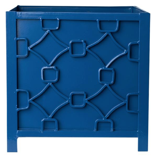 Tole Chippendale Planter Container Blue