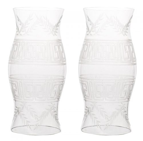 Pair of Large Etched Glass Hurricanes